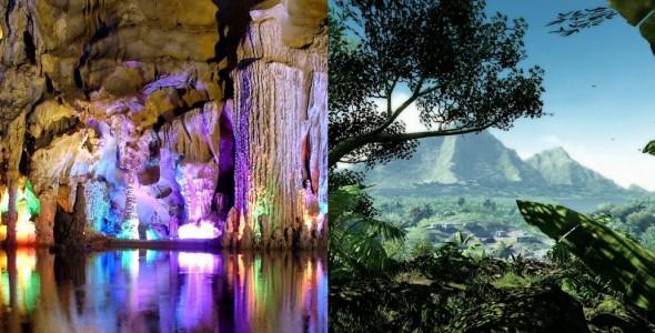 Alors, sauriez-vous me dire quel endroit est réel ? A gauche, ça se passe en Chine, à droite, c'est Far Cry 3.
