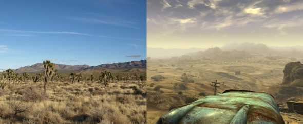 Le désert de Mojave, version normal et version post apocalyptique (Fallout New Vegas).